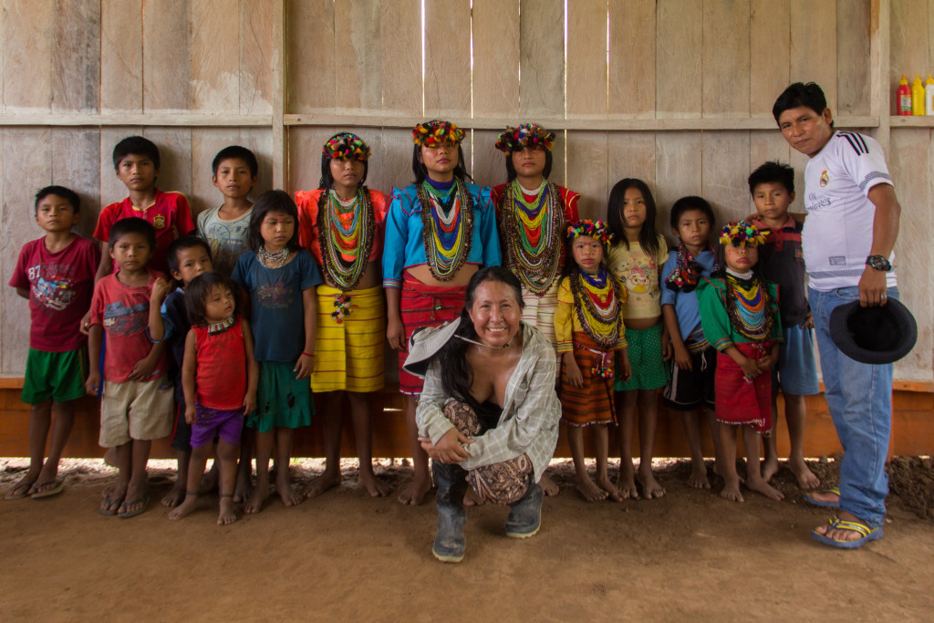 Eda with her beloved Shawi Children